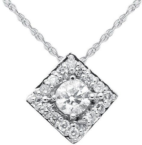 K White Gold Diamond Halo Womens Pendant Necklace Features