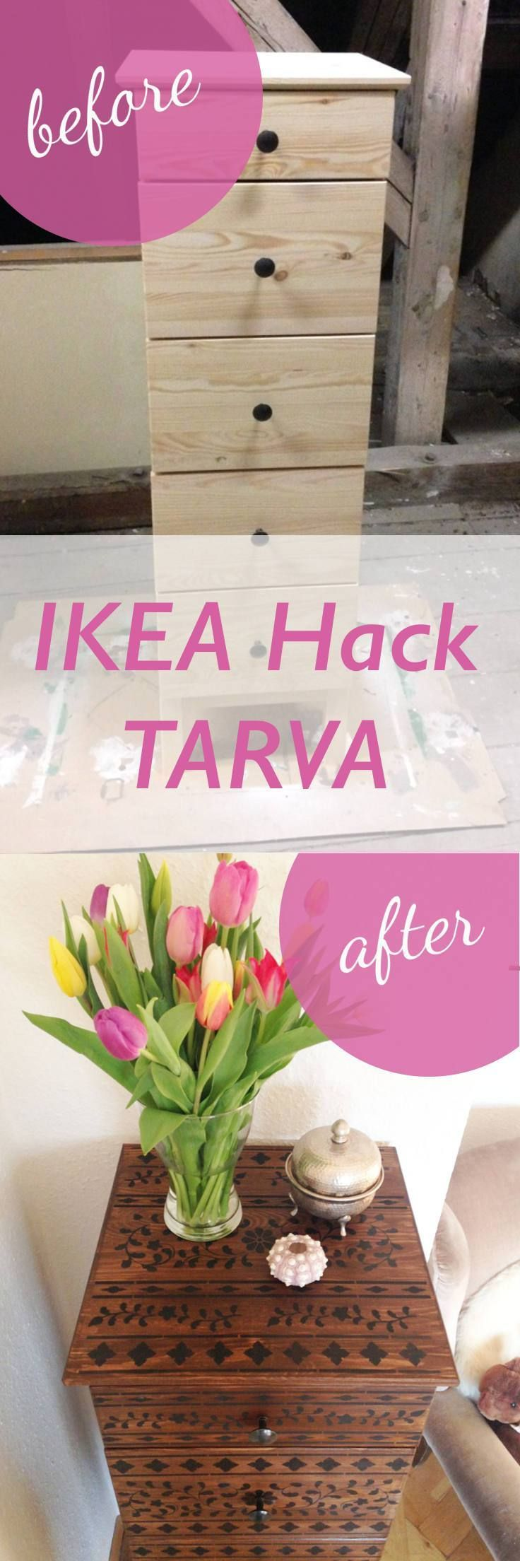 IKEA Hack TARVA – Oriental Vibes With Stain And Stencils #furnitureredos