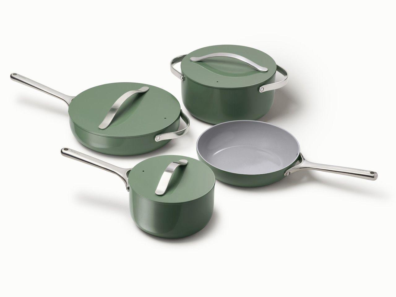 Caraway A New Modern Cookware Set You Won T Want To Stow Away Ceramic Cookware Set Ceramic Cookware Cookware Set
