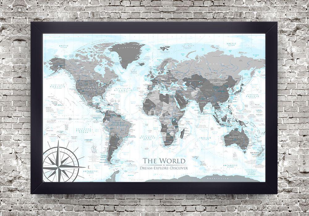Columbus World Map - Framed Pin Board Map   Pin boards, Map frame ...