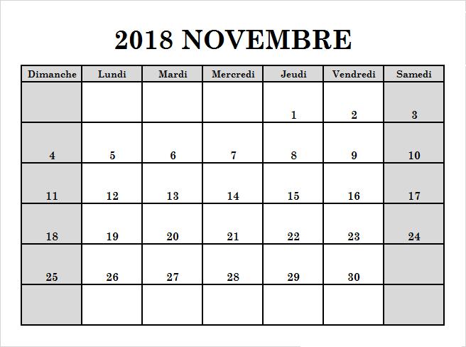 Novembre 2018 Calendario Modificabile   Calendar template
