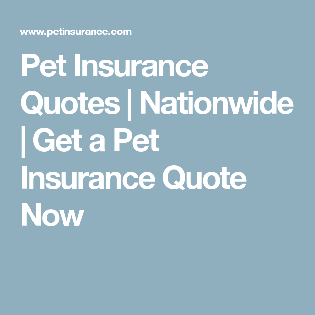 Nationwide Insurance Quote Glamorous Pet Insurance Quotes  Nationwide  Get A Pet Insurance Quote Now