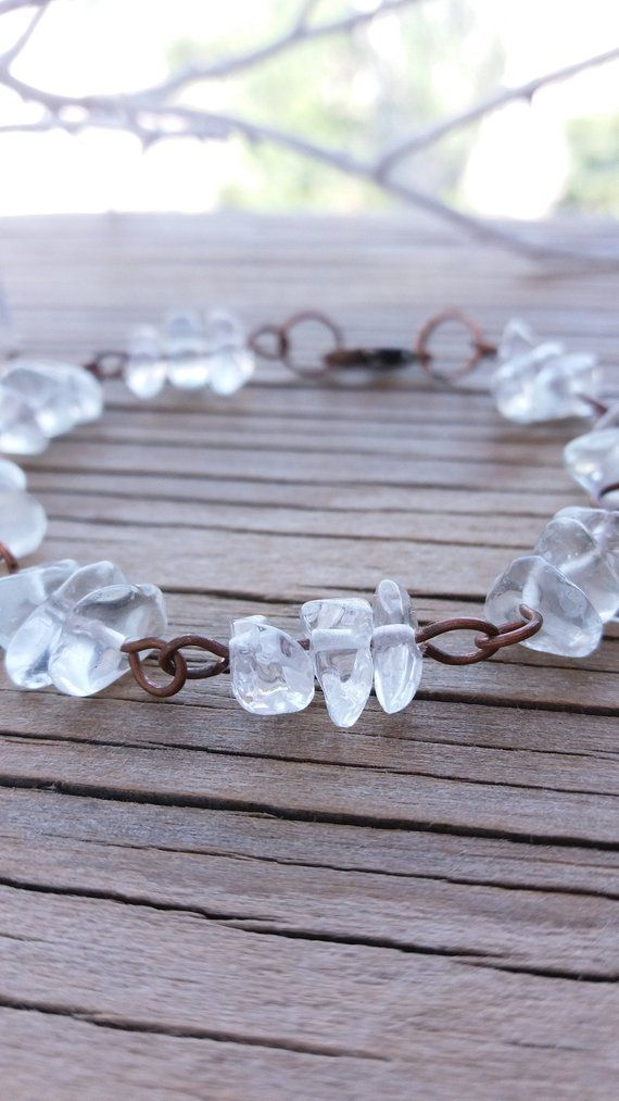 Photo of Items similar to Clear quartz bracelet Bridesmaid gift jewelry Womens gemstone bracelet Gift for women Natural bracelet Chip stone jewelry Copper bracelet on Etsy