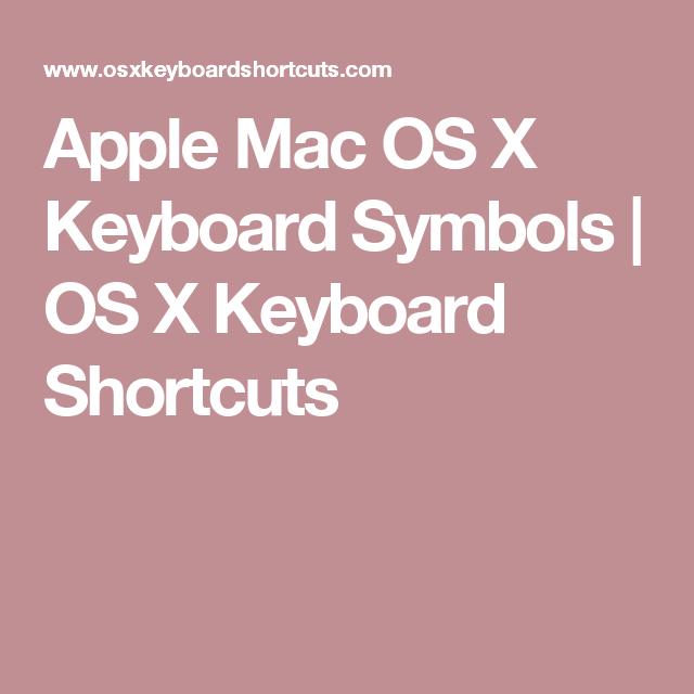 Apple Mac Os X Keyboard Symbols Os X Keyboard Shortcuts Bulletin