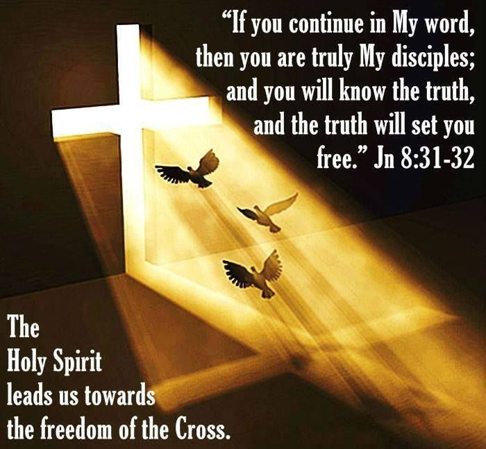 """John 8:31 So Jesus said to the Jews who had believed him, """"If you abide in my word, you are truly my disciples, 32 and you will know the truth, and the truth will set you free."""""""