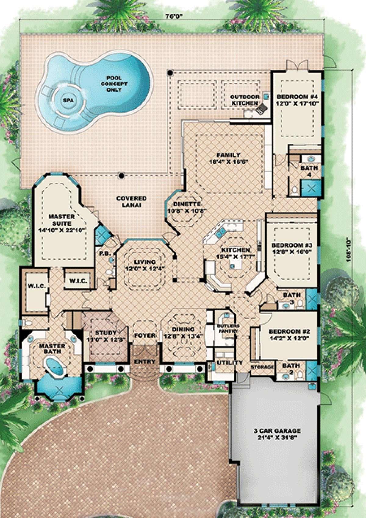 House Plan 1018 00110 Florida Plan 3 985 Square Feet 4 Bedrooms 5 Bathrooms Mediterranean Style House Plans Dream House Plans House Plans