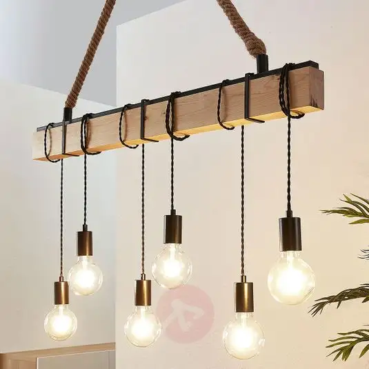 Linear Pendant Light Cintia With Wood 6 Bulb In 2020 Linear Pendant Lighting Wood Pendant Light Bulb Pendant Light