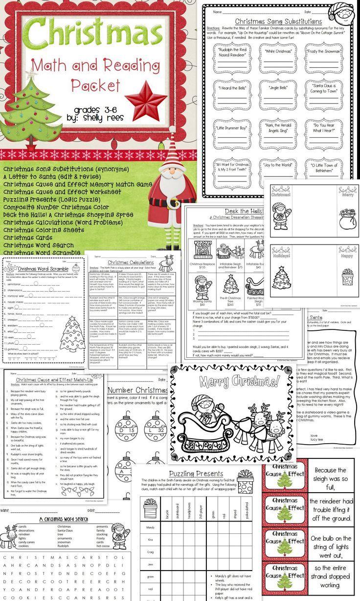 Christmas Math And Christmas Reading Worksheets Tpt Language Arts
