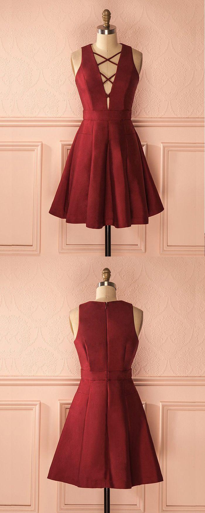 Simple crisscross satin burgundy short formal dress hd