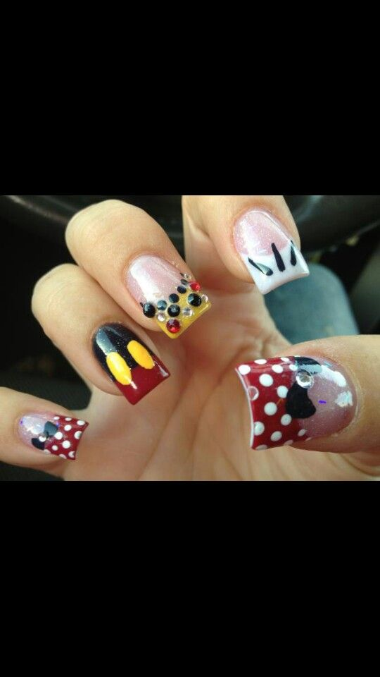 Minny moise mickey mouse acrylic nails | Arte de uñas | Pinterest ...