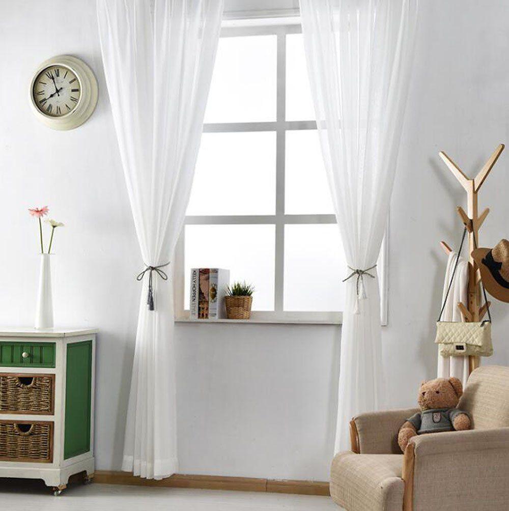Jsutyer White Sheer Curtains Rod Pocket Drapes Sheer Voile