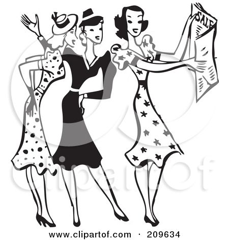 Royalty Free Rf Clipart Illustration Of A Retro Black And White Group Of Women Discussing Sale Ads By Bestvector 2 Clip Art Clip Art Pictures Cartoon Styles