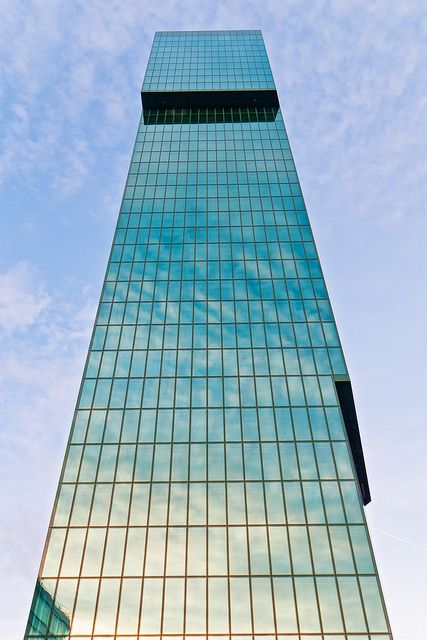 """""""The Prime Tower in Zürich,"""" by Tambako the Jaguar, via Flickr.  Love these colors and reflections!"""