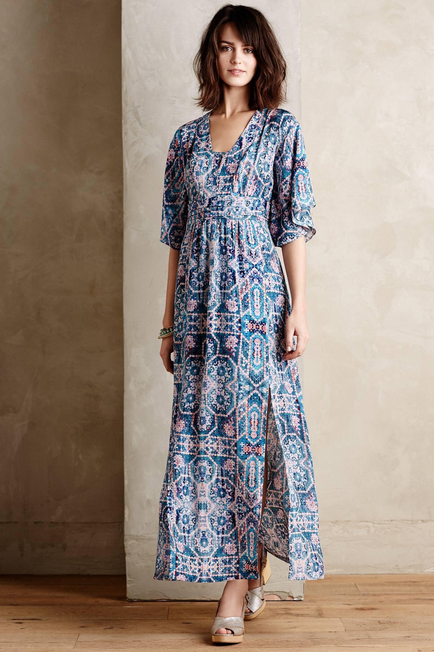 Constellation maxi dress anthropologie print u pattern