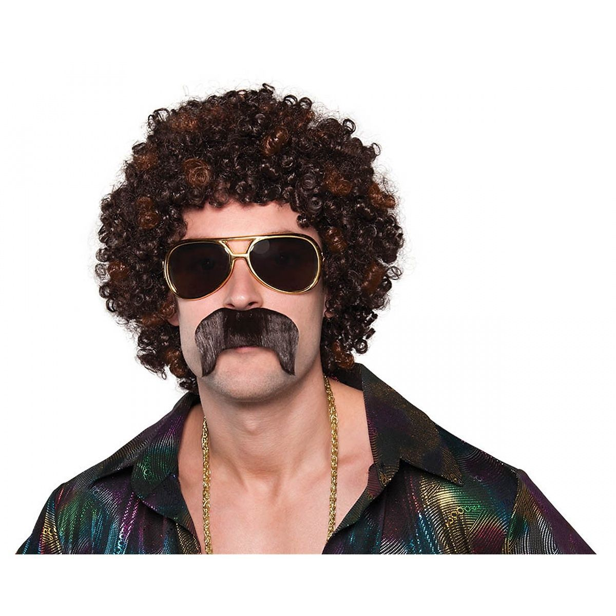 Fancy Dress Accessory Black 70's Seventies Hippy Black Moustache