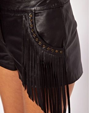 Image 3 ofASOS PETITE Exclusive Leather Shorts With Fringing And Studs