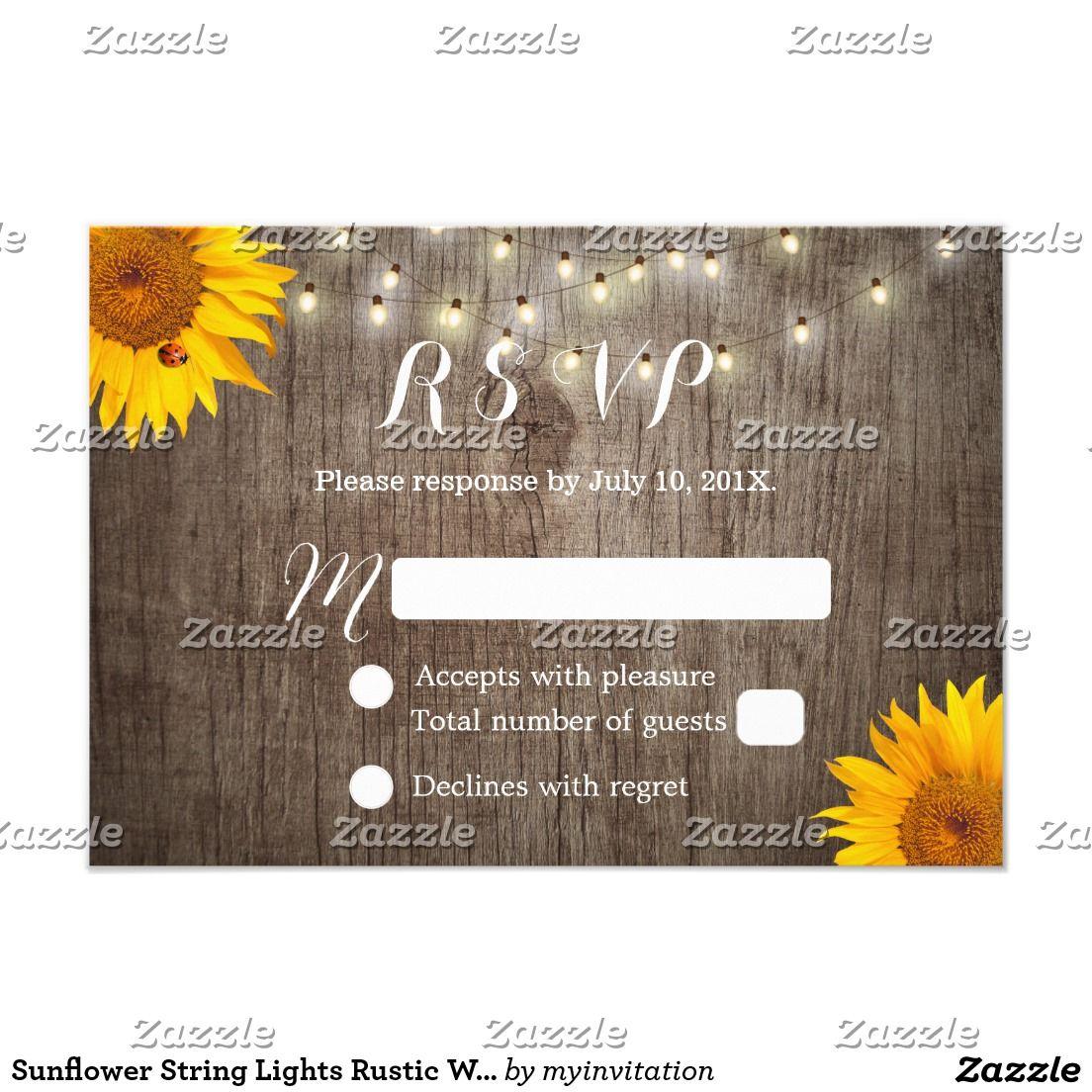 Sunflower String Lights Rustic Wedding RSVP
