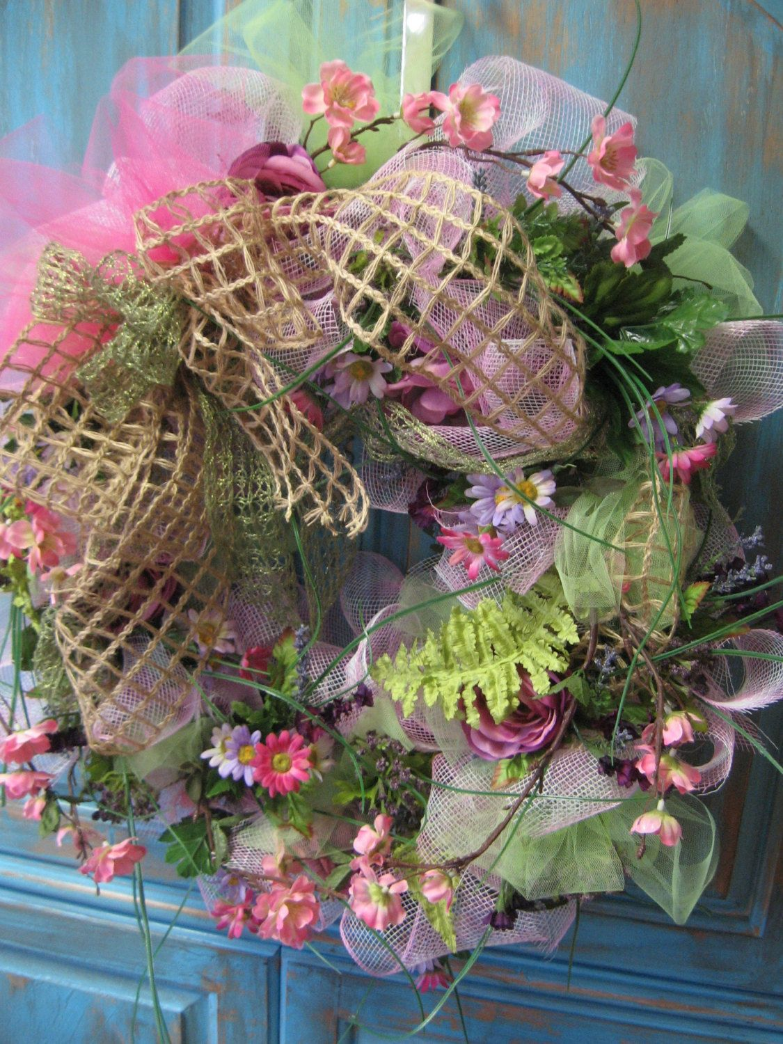SPRING BOUQUET wreath with pink deco mesh green by faucettandflame