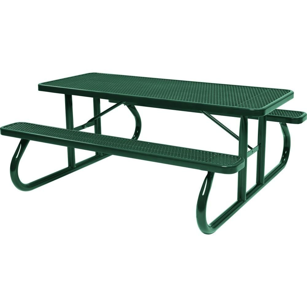 Peachy Tradewinds Park 6 Ft Green Commercial Picnic Table Machost Co Dining Chair Design Ideas Machostcouk