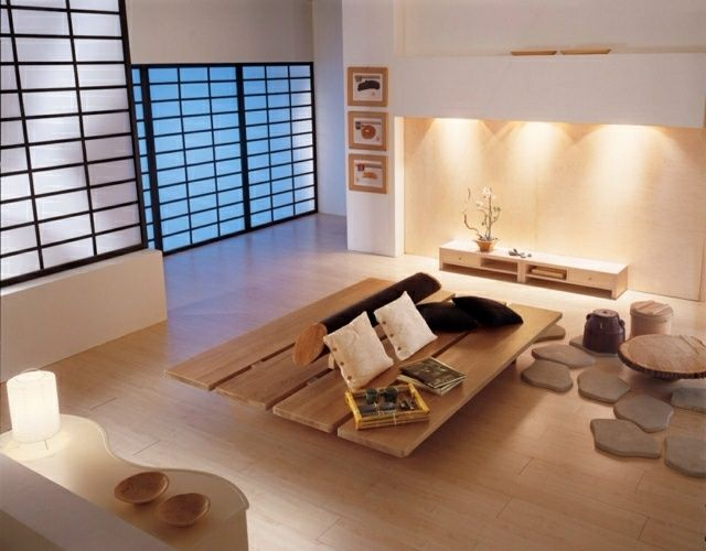 Wohnzimmer im asiatischen Stil einrichten niedrige Möbel