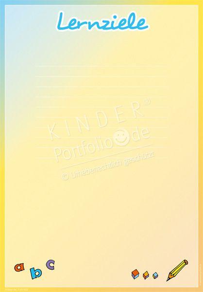 """Kindergarten Portfolio Vorlage """"Lernziele"""""""