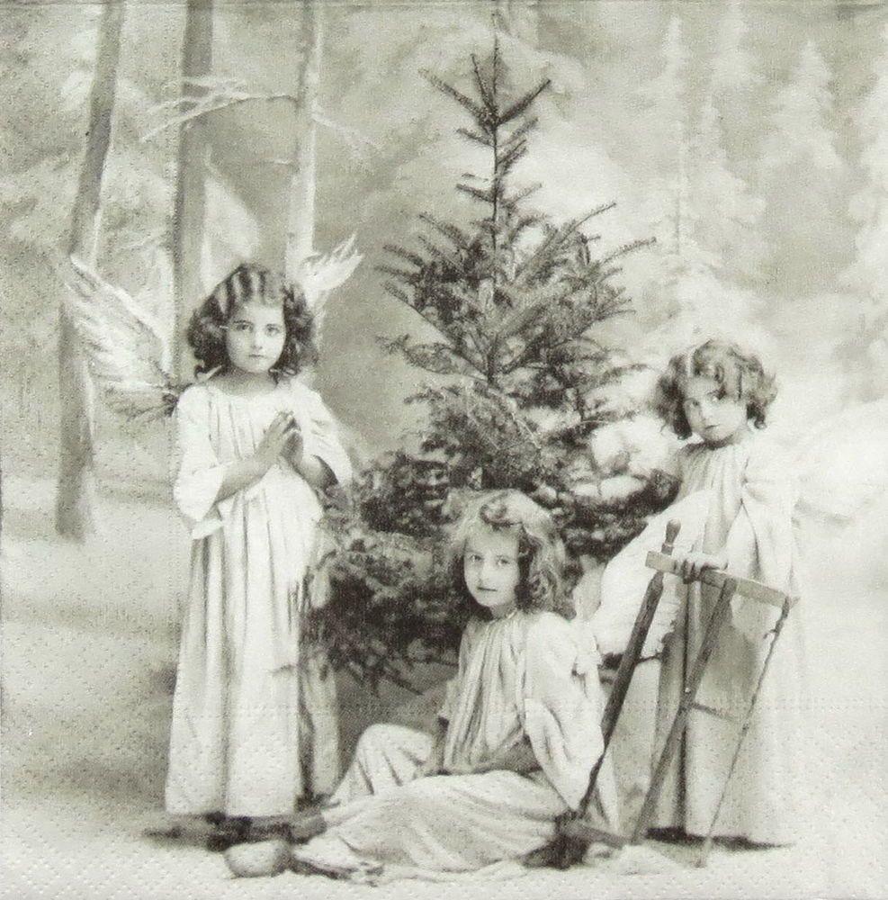 4x Paper Napkins for Decoupage Craft Sagen Christmas Children Mix