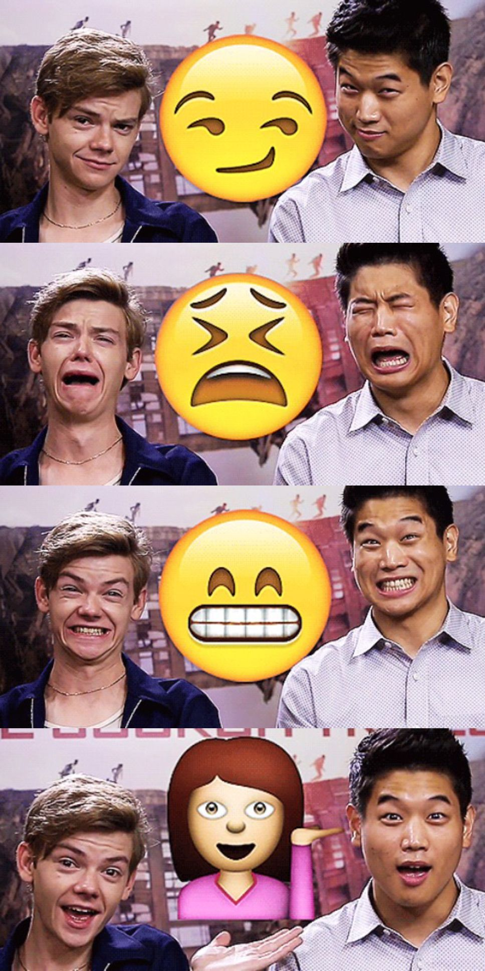Emojis + ki hong lee and thomas sangster. Thomas is best at the first one. So handsome.