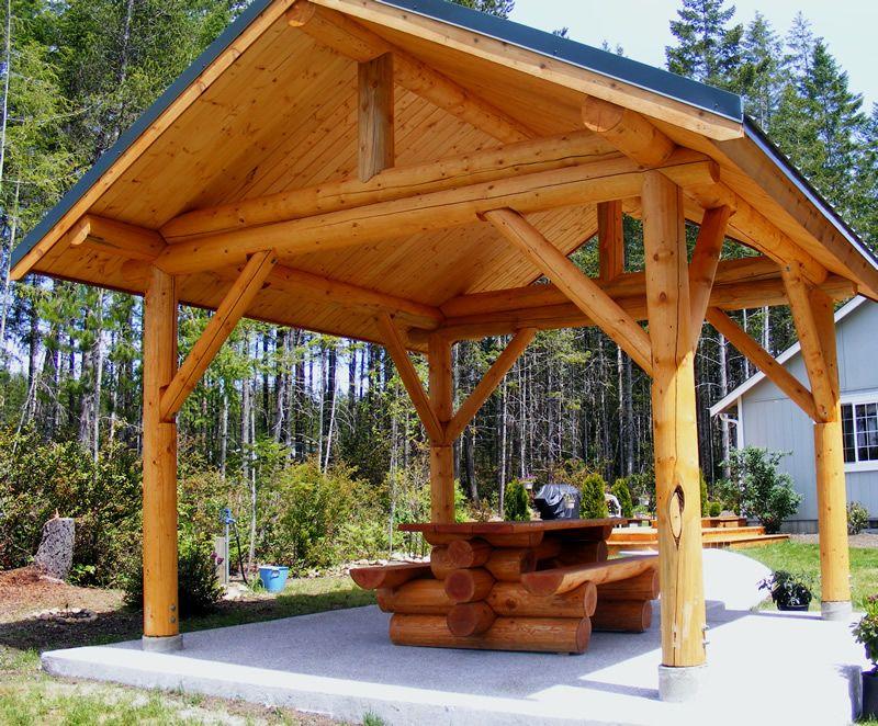 Log Shelter | Cabin ideas 2014 | Backyard pavilion, Outdoor