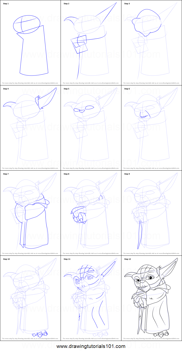 How To Draw Yoda From Star Wars Printable Drawing Sheet By