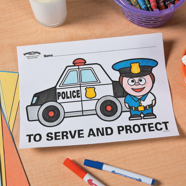 Police Party Free Printable Coloring Page Idea - OrientalTrading.com ...