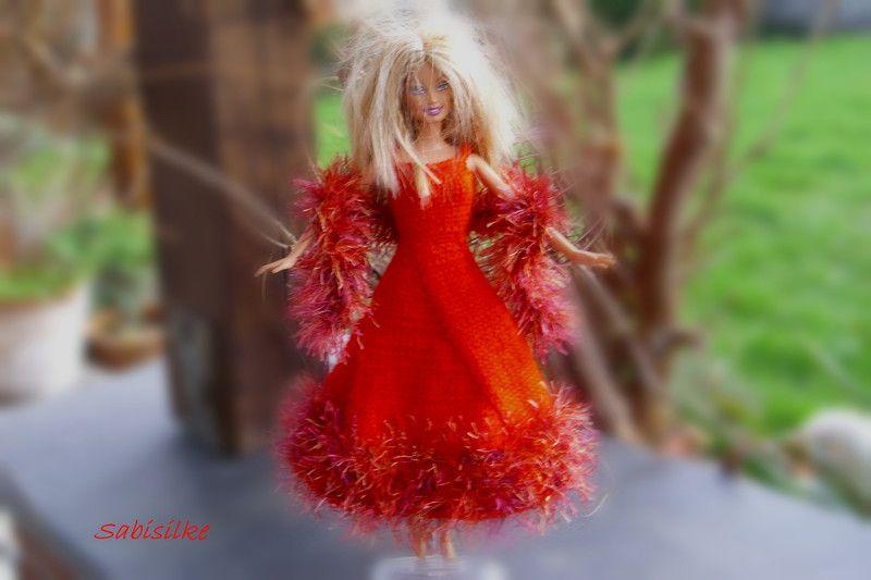Puppenkleidung - Abendkleid mit weitem Rock für Barbie ** rot - ein…