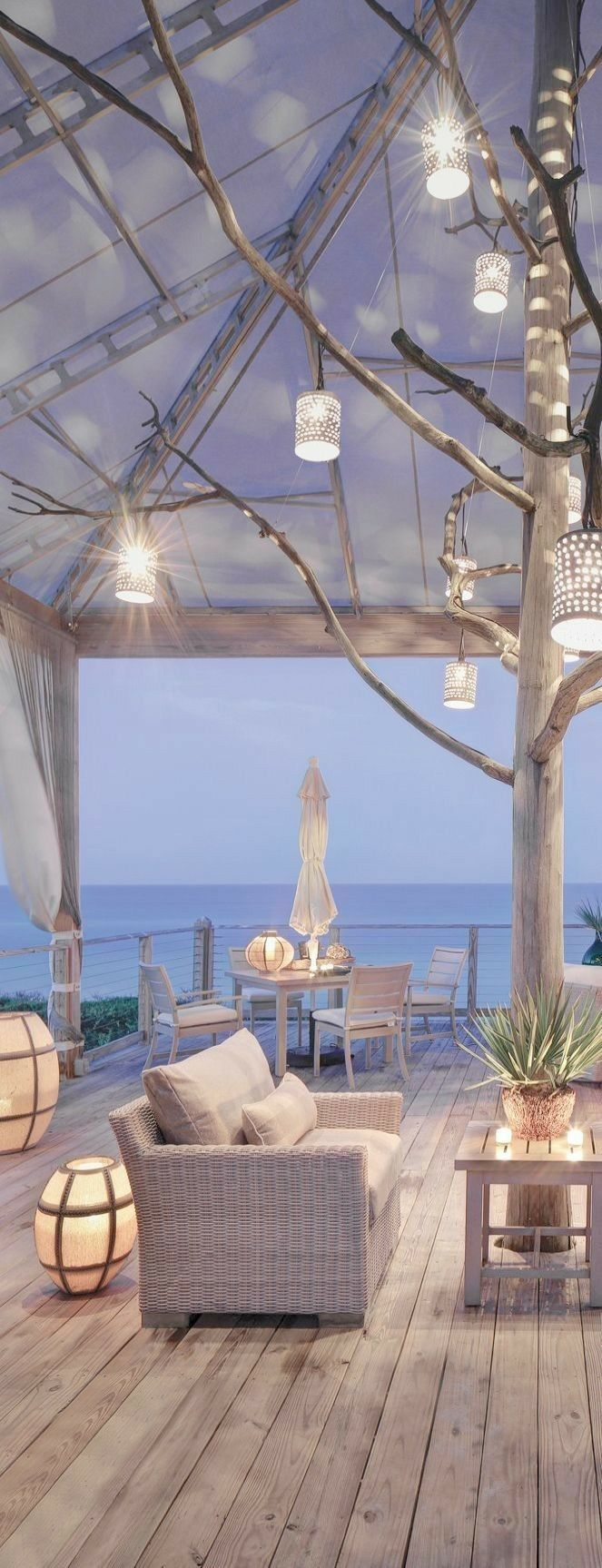What an incredibly cozy, romantic patio at this beach house. #strandhuis