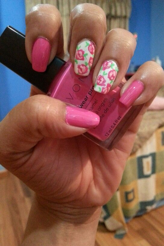 Pink floral nails...