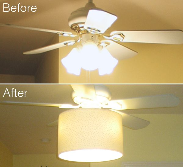 Add A Drum Shade To Tacky Old Ceiling Fan Hide The Dated Gl Shades Spray Coat Of Paint And It Ends Up Looking Like Something You Might Have