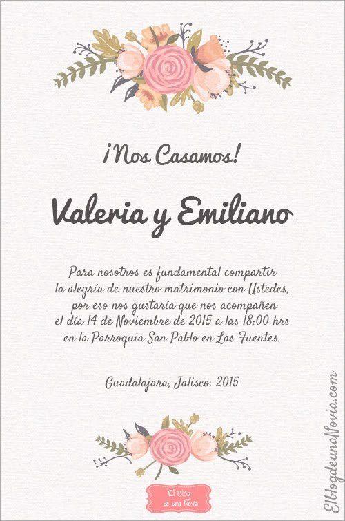 Texto de una invitación de boda casual | Anatomía de la invitación ...