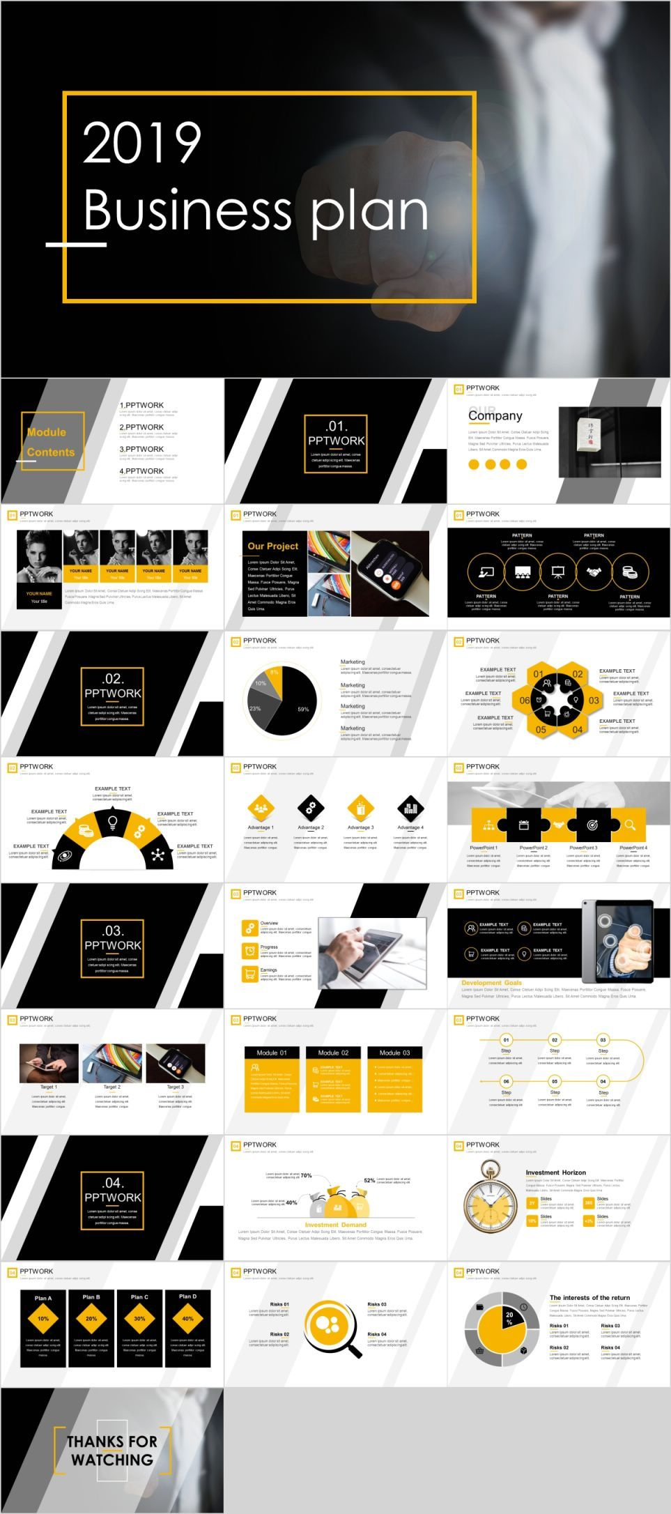 Clean fashion business plan PowerPoint template Fashion