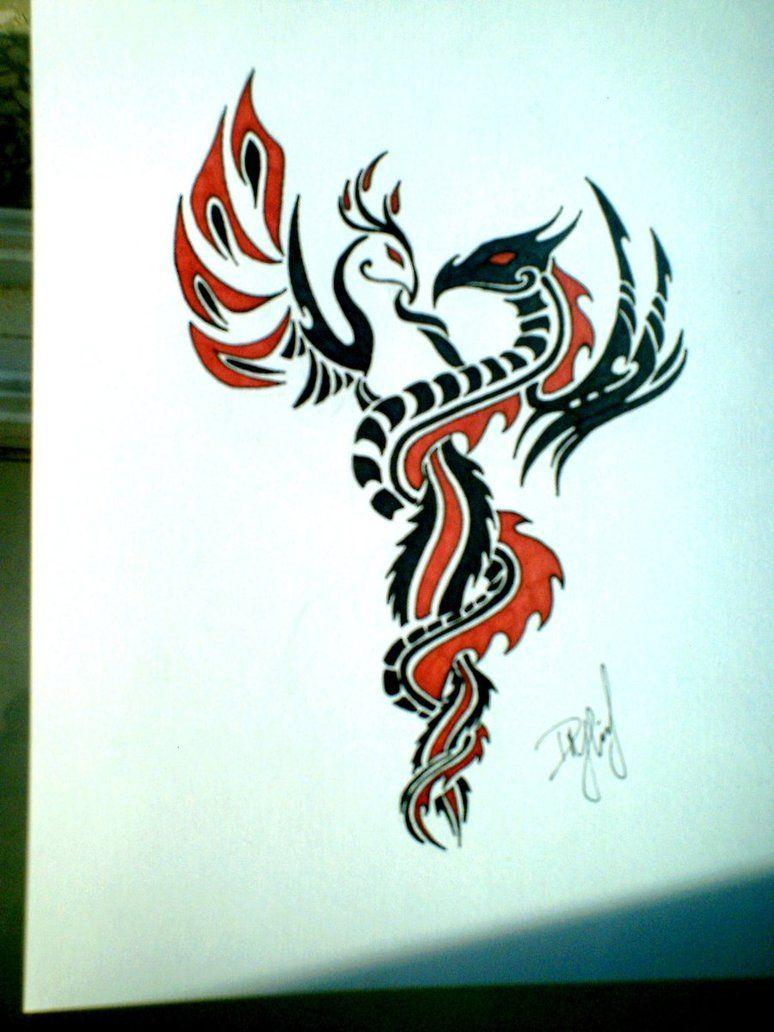 phoenix dragon tribal the image kid has it. Black Bedroom Furniture Sets. Home Design Ideas
