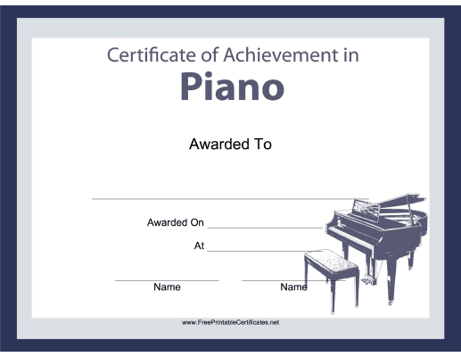 Pianists organists and keyboard players will all enjoy this free all enjoy this free printable certificate of achievement for musical instruments featuring a picture of a baby grand piano free to download and print yadclub Choice Image