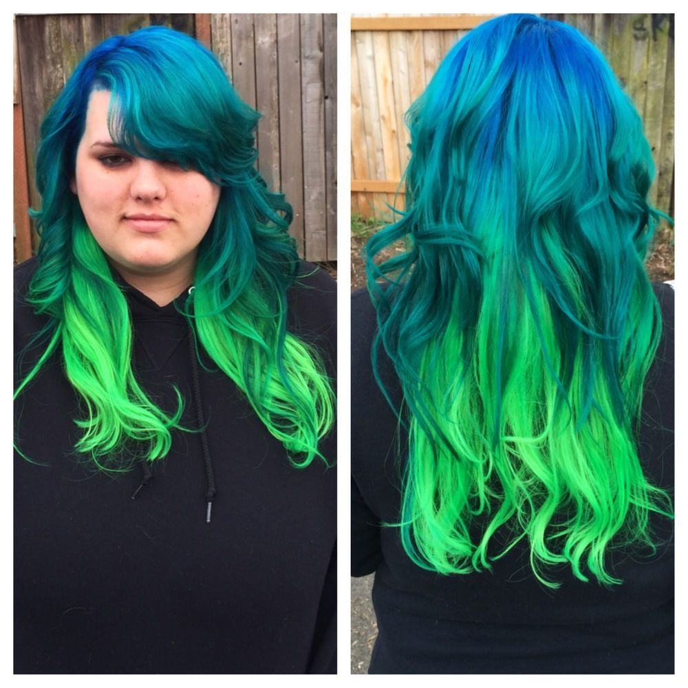 Images For Blue And Green Ombre Hair Green Hair Ombre Blue Ombre Hair Neon Green Hair