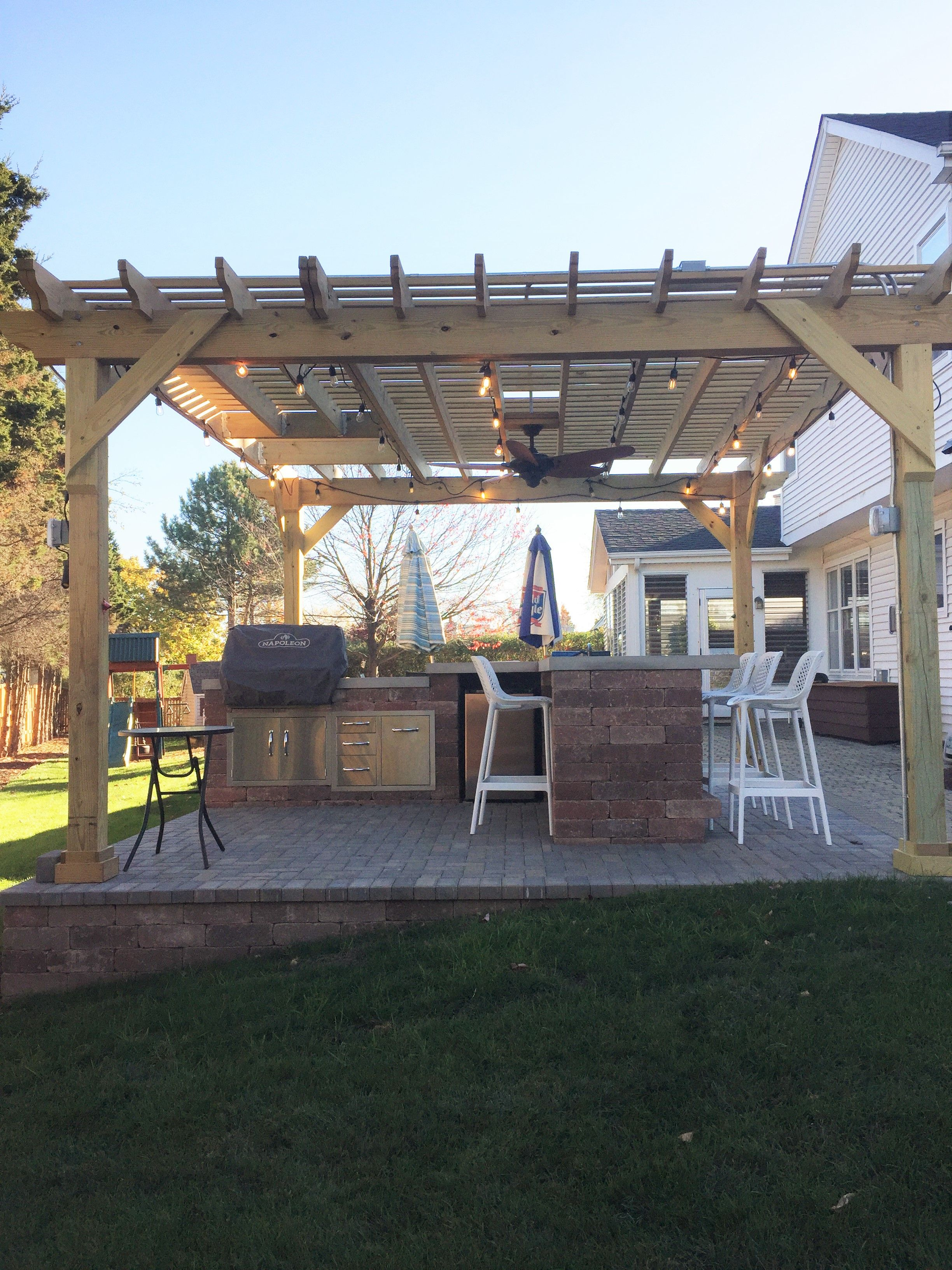 Chicago Outdoor Kitchen With Belgard Patio And Pergola By Schaumburg Il Builder
