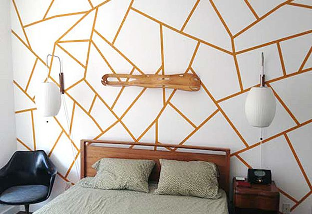 27 Insanely Inexpensive Ideas For Your Walls Tape Wall Art Wall Design Washi Tape Wall