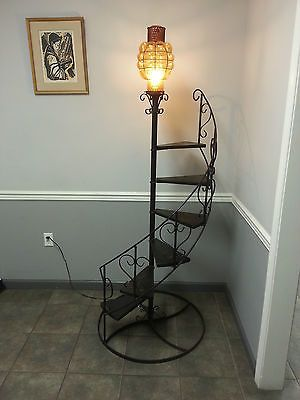 Vintage 78 Tall Wrought Iron Wood Spiral Staircase Plant Stand
