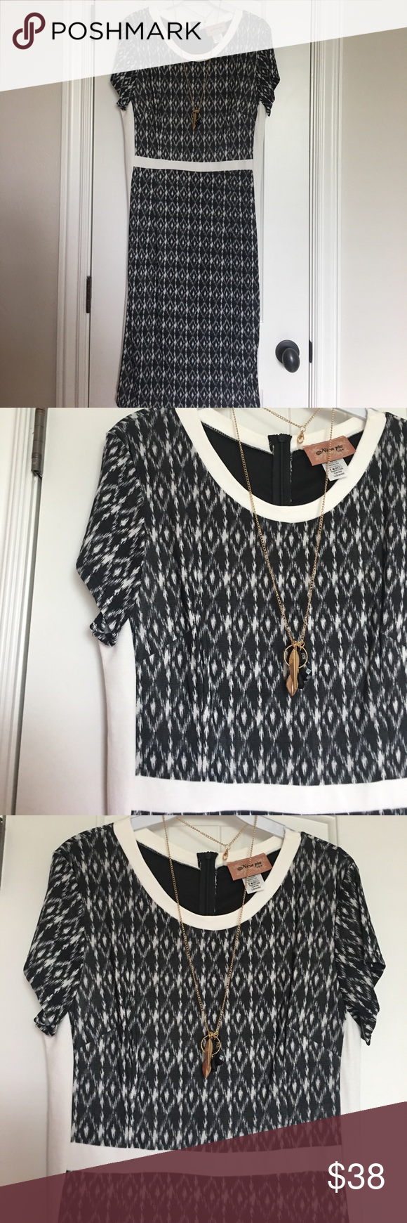 Black and white midi dress new look dillards with sleeves