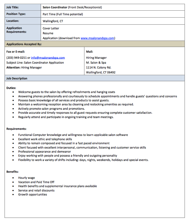 this example salon receptionist job description resume we will give you a refence start on building resumeyou can optimized this example resume on creating