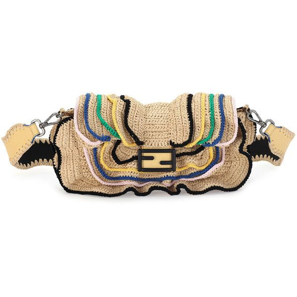 Fendi Baguette Heart-Stud Wave Shoulder Bag (€2.390) ❤ liked on Polyvore featuring bags, handbags, shoulder bags, natural, beige purse, beige handbags, buckle purses, fendi handbags and snap closure purse