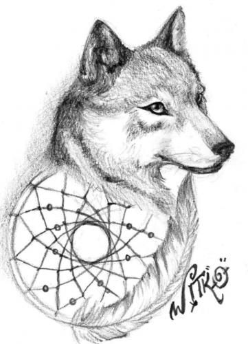 Animal Coloring Pages Dream Catchers Dream catcher Wolf 01