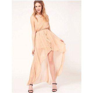 beige luftig asymmetrisch Kleid ohne ärmellos   Phobo Fashion ... 1469496320