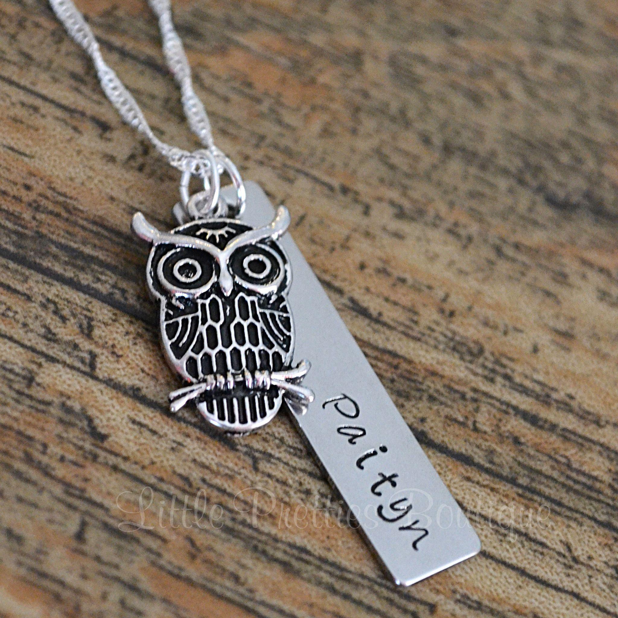 Owl Nameplate Necklace www.littleprettiesboutique.com