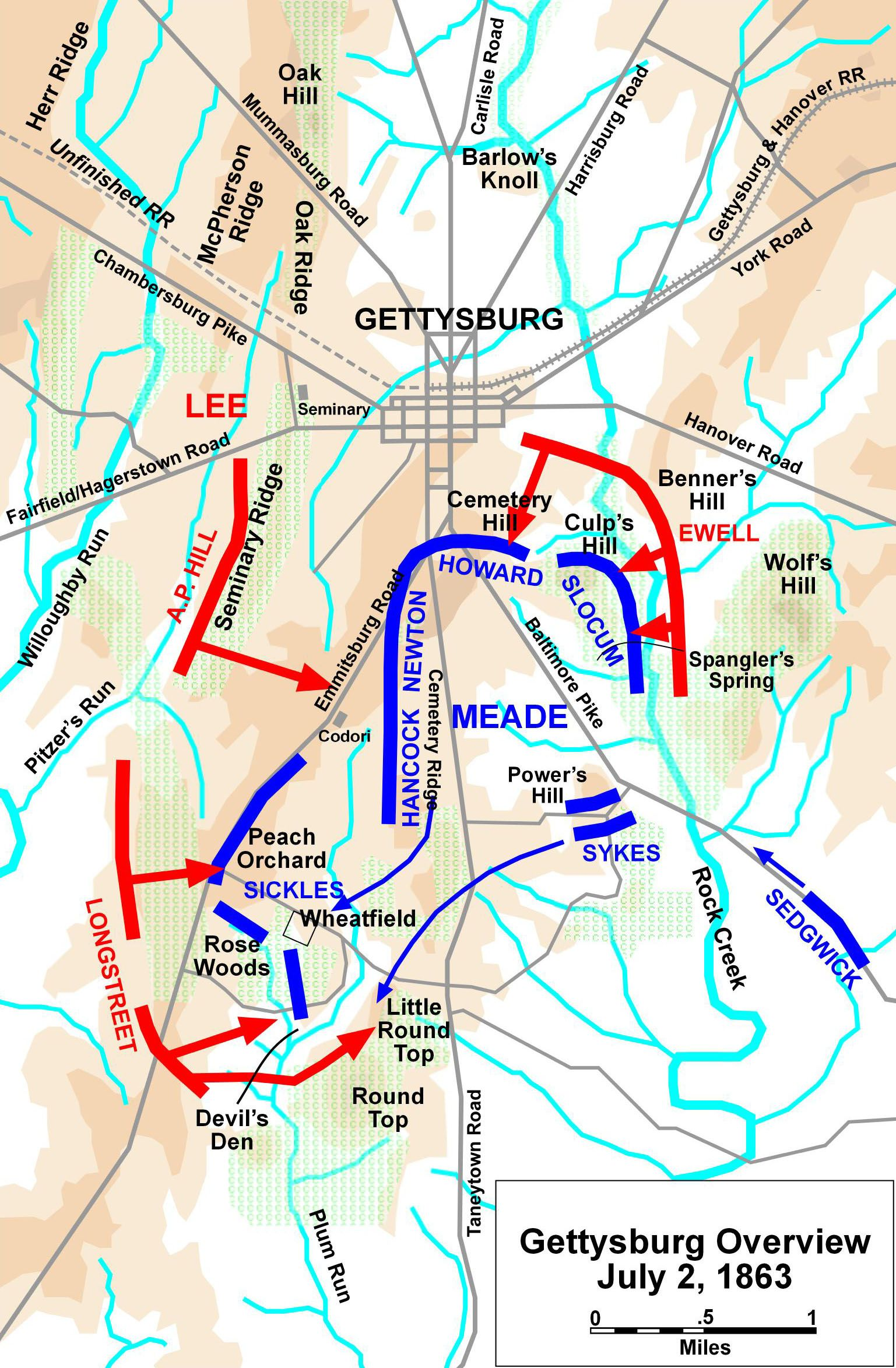 Battle Of Gettysburg July Gettysburg The Iron - Battle of gettysburg map us