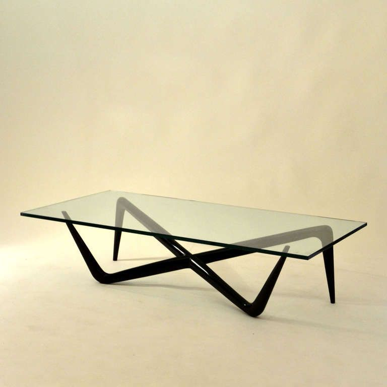 Folding Glass Top Coffee Table: Sculptural 1950's Coffee Table In 2019